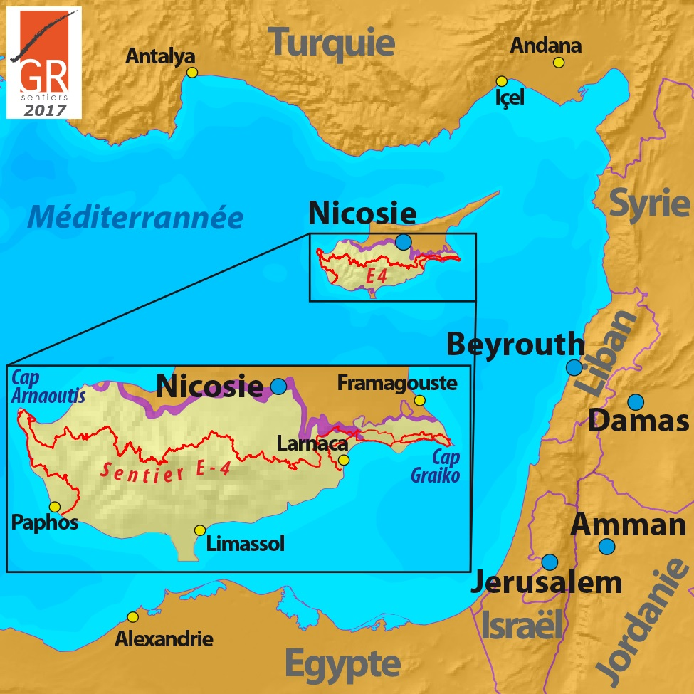 Voir Carte Chypre.Chypre Les Sentiers De Grande Randonnee Asbl