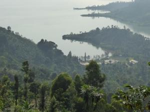 Vue plongeante sur l'activité au bord du lac Kivu